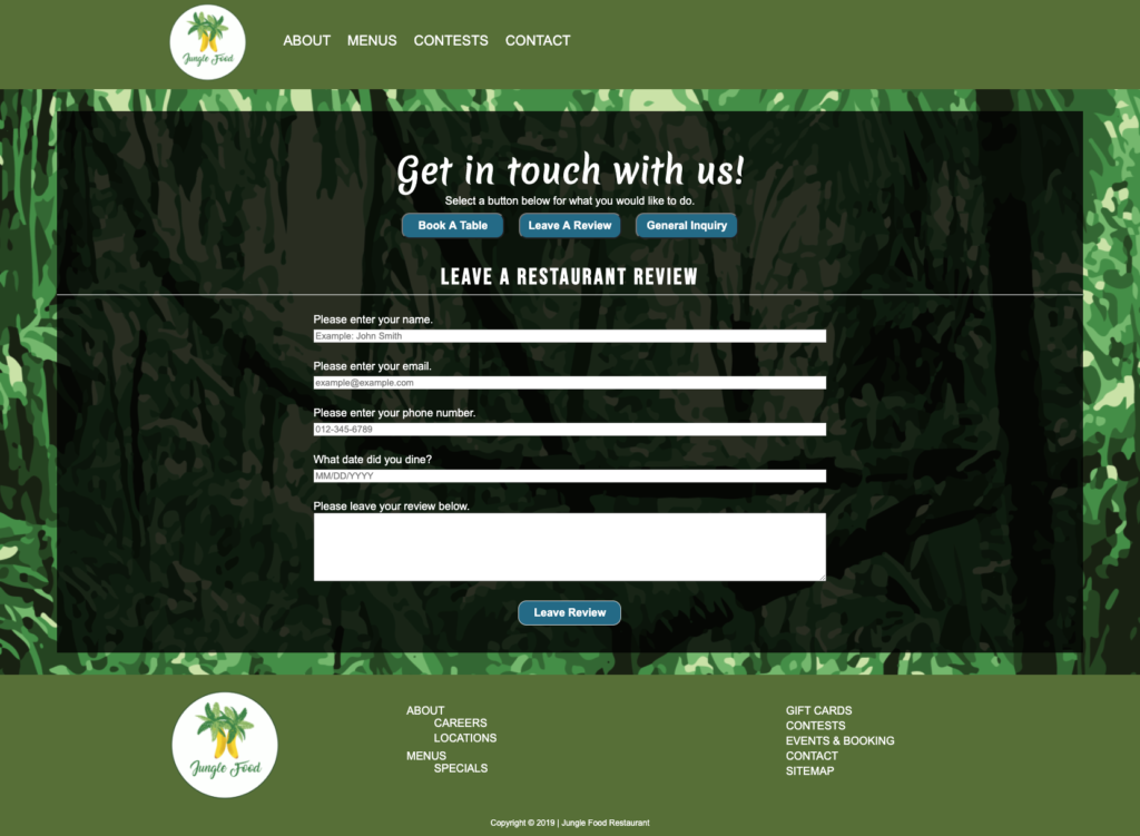 Jungle Food review form